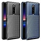 VGUARD [2 Unidades] Funda para Sony Xperia 1, [Fibra de Carbono] Carcasa Ligera Silicona Suave TPU Gel Bumper Caso Case Cover con Shock- Absorción (Negro+Azul)