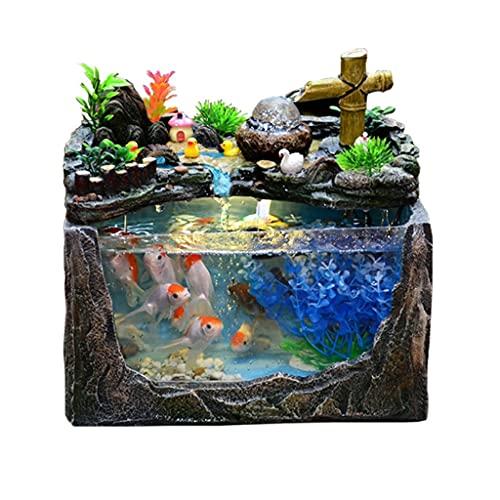 DALIZHAI777 Aquarium Rockerie und Wasser Kreative Kleintank Wohnzimmer Familien Aquarium Aquarium Tank Büro Desktop ökologische Dekoration Fischglas