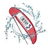 Termómetro de Cocina Digital LCD, HOTSO Temporizador Electrico Plegable para Carne Termometro de Alimentos con Sonda para Barbacoa, Agua, Fácil de Usar/Llevar(Rojo)