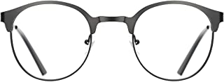 TIJN New Round Designer Metal Eyeglasses Frames with Clear Lens