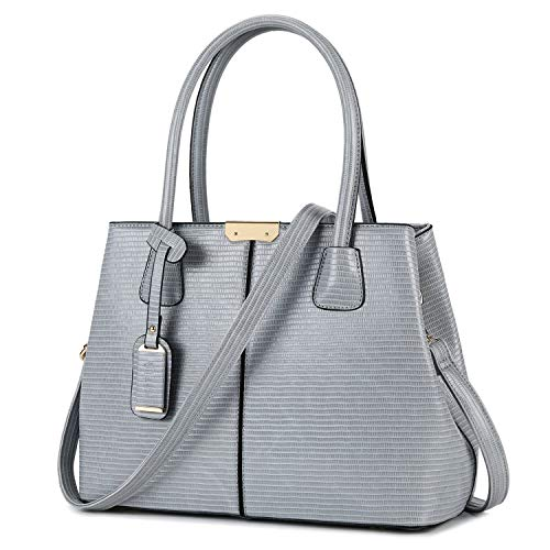 B&E LIFE Stylish Women Pu Leather Vertical Utility Top Handle Handbag Satchel Tote Purse Bag (Grey Lizard Style)