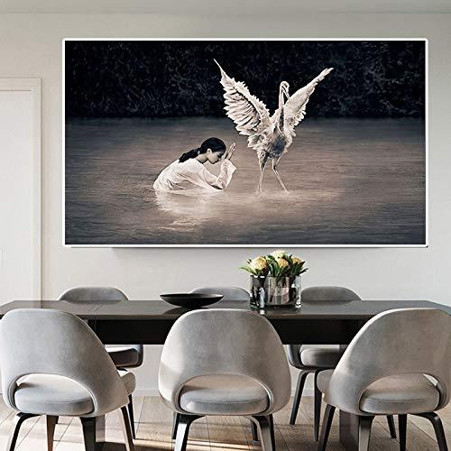 Realist White Crane Wandbild Leinwand Bild Wandkunst Poster nachdenklich Mädchen Wohnzimmer Wandbild,Rahmenlose Malerei,70x125cm