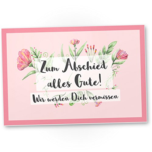 DankeDir! Zum Abschied Alles Gute (Rosa) - Kunststoff Schild Abschiedskarte Jobwechsel, Geschenkidee Abschiedsgeschenk Kollegen, Geschenk Verabschiedung Kollege/Chef, Abschied Arbeitskollege im Büro