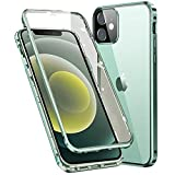 Custodia per iPhone 12 Pro(6.1'') 360° Full Body Antiurto Protettiva Cover + Fronto e Back Trasparente Pellicola in Vetro Temperato, Bumper Metallo Frame Adsorbimento Magnetico Cases,Verde