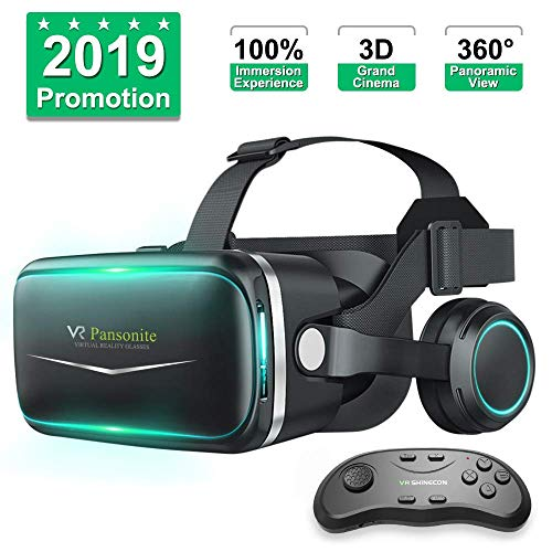 Pansonite Vr Headset with Remote Controller[New Version], 3D Glasses Virtual Reality Headset for VR Games & 3D Movies, Eye Care System for iPhone and Android Smartphones