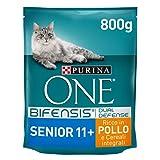 Purina One Bifensis Crocchette Gatto Senior 11+ Ricco in Pollo e Cereali integrali - 8 Sacchi da 800 g Ciascuno