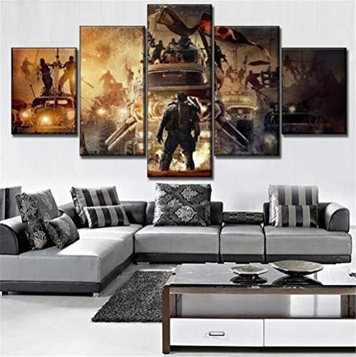 WLHZNB Leinwanddrucke Moderne Kunst 5 Panels Film Mad Max Fury Road Poster Wandkunst Dekoration Leinwand (Größe 3) Kein Rahmen