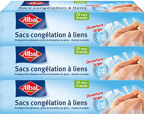 Albal 20 Sacs Congélation, Lien de Fermeture, Ouverture Large, Résistant, 18L - Lot de 3