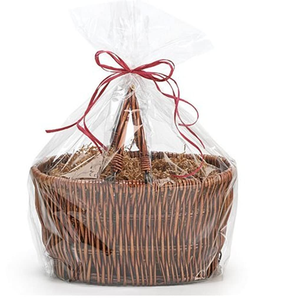 CakeSupplyShop Extra Large Jumbo Cellophane Bags Gift Basket- 30 x 40 Inch with Gift Tags - 10 Pack - Clear