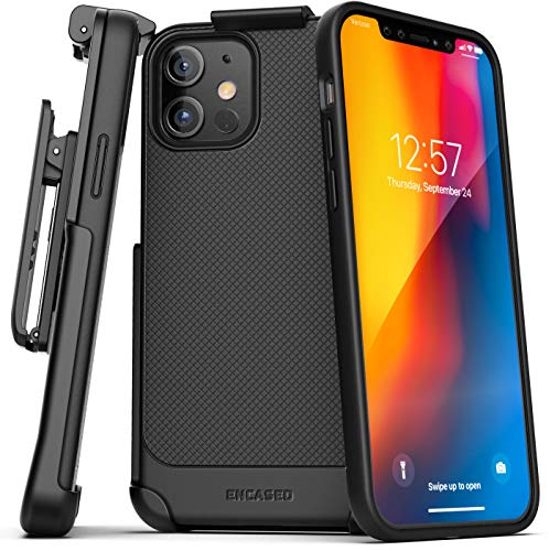 Encased Compatible with iPhone 12 Belt Clip Case (Thin Armor) Slim Grip Cover with Holster - Black
