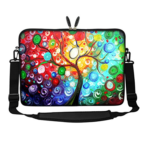 Meffort Inc 17 17.3 inch Neoprene Laptop Sleeve Bag Carrying Case with Hidden Handle and Adjustable Shoulder Strap - Colorful Tree