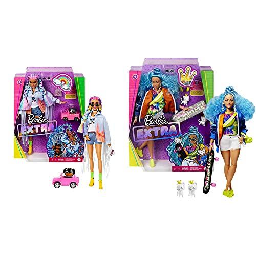 Barbie Extra Muñeca Articulada con Trenzas De Colores, Accesorios De Moda Y Mascota (Mattel Grn29) + Extra Muñeca Articulada con Pelo Azul Rizado, Accesorios De Moda Y Mascotas (Mattel Grn30)
