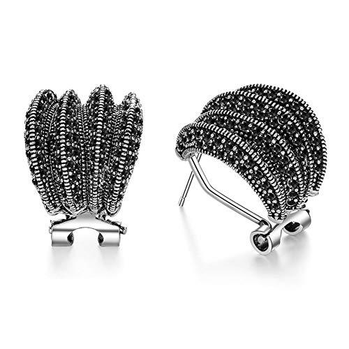 D&XQX 15 mm Kleine Band-Ohrringe Schwarz Markasit Titan Schmuck Exquisite Ohrringe Arbeiten Qualitäts-Party-Zubehör
