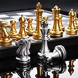 LQW HOME Ajedrez Juego de ajedrez Medieval Juego de ajedrez Tablero de ajedrez con 32 Piezas de ajedrez con el Tablero de ajedrez Oro Plata magnética Juego de ajedrez WPC (Color : with Box)