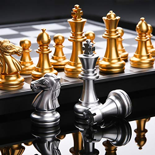 Brettspiel Schach-Spiel Medieval Schachspiel mit Schachbrett 32 Schach-Stücke mit Schachbrett Gold Silber Magnetic Chess Set WPC Tragbar (Color : With BOX)