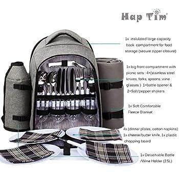 Hap Tim Sac à Dos Pique-Nique pour 4 Personnes avec couvertures en Laine et Compartiment Isotherme (Gris)