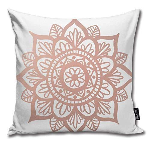 ewretery New Rose Gold Mandala Button Cushion Covers Home Decorative Throw Pillowcases for Livingroom Sofa Bedroom Car 18X18inch