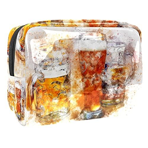 Neceser bolsa de maquillaje organizador de cosméticos bolsa de lavado kit de bolsa de viaje para hombres y mujeres cerveza abstracta, Cerveza abstracta, 18.5x7.5x13cm/7.3x3x5.1in,