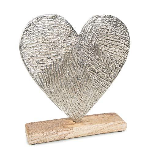Logbuch-Verlag Dekoherz aus Holz & Metall - Herz zum Hinstellen - Geschenk für Frauen und Männer - Herzdeko 21 cm Symbol Liebe