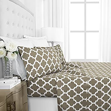 Egyptian Luxury 1800 Series Hotel Collection Quatrefoil Pattern Bed Sheet Set - Deep Pockets, Wrinkle and Fade Resistant, Hypoallergenic Printed Sheet and Pillow Case Set - King - Taupe