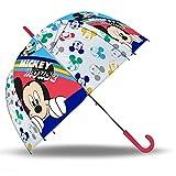 SKYLINE Paraguas para Niños, Mickey Mouse, Campana Transparente, Paraguas Infantil, Poliéster, 72cm diámetro, Vuelta al Cole, Ideal para Niños