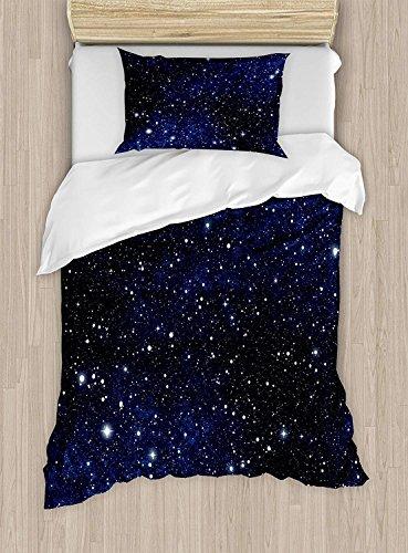 Ensemble de housse de couette Night Twin Size, Composition avec pois, thème Nuit Sky, style abstrait, concept Cosmos, ensemble de literie décoratif de 2 pièces avec un oreiller, blanc bleu foncé