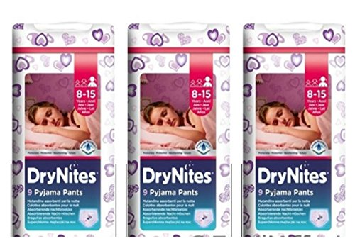 3 X Pannolini mutandina Huggies DryNites Jumbo Girl Pannolino Dry Nites 8 - 15