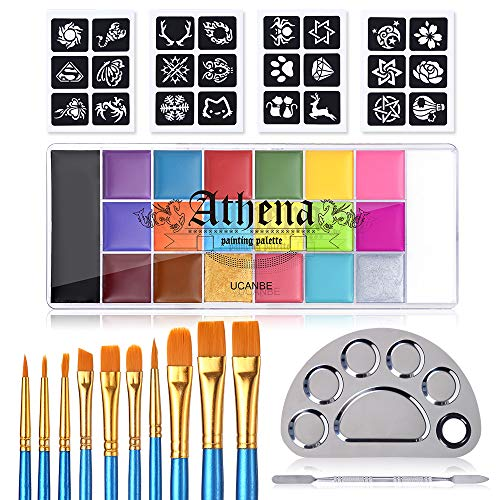 UCANBE Face Body Paint All-in-1 Set - Athena 20 Colors Face Painting Palette, 10 Professional Artist Brushes, 24 Stencils & Stainless Painting Mixing Palette