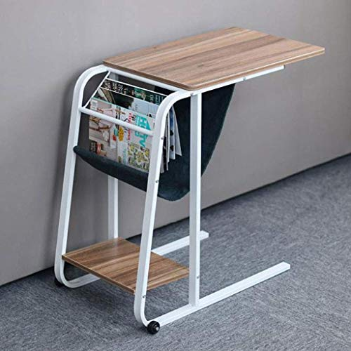 PAKUES-QO Coffee Table Side Tables Carbon Steel C-shaped Storage Small Side Corner Table, Leisure Living Room Bedroom Household Reading Laptop Table, 60 * 40 * 75cm (Color : C)