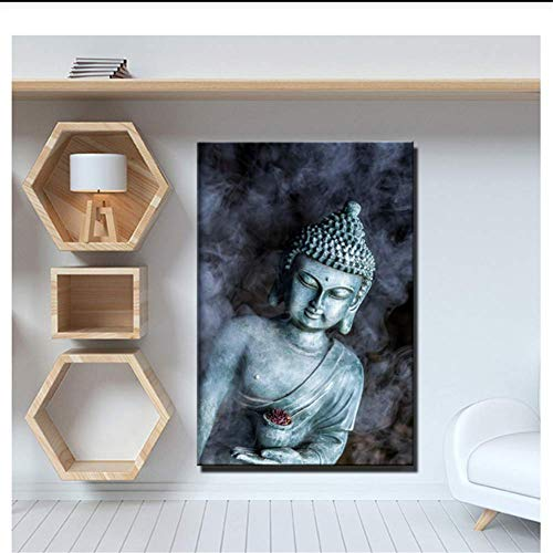 KONGQTE Smoke Vape Buddha Statue Buddhism Canvas Paintings Religious Buddha Wall Posters for Living Room Wall Decor No Frame
