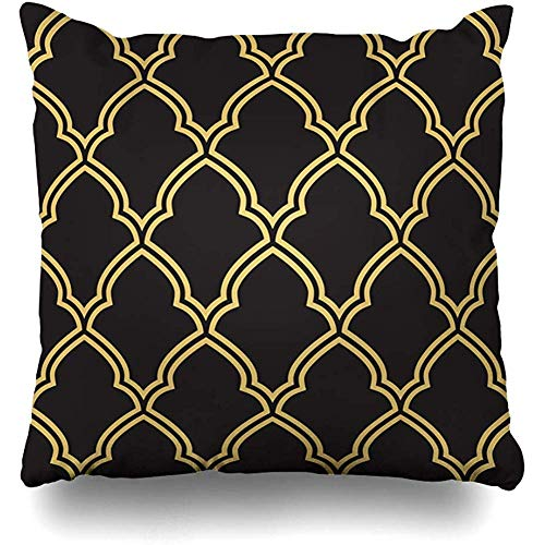 Throw Pillow Case 45x45 cm Interlace Damask Geometric Decor Morrocan Trellis Pattern Inspired Old Vintage Textures Scrapbook Cushion Cover