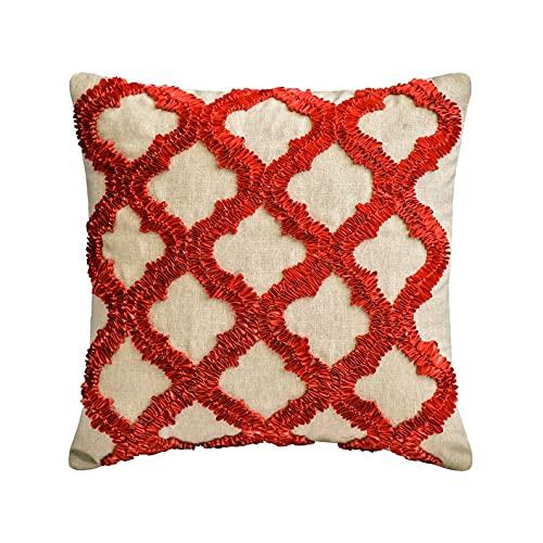 "The HomeCentric Decorativo Rojo Amortiguar, 40x40 cm (16""x16"") Lino Cojin, Funda de Cojín con Bordado geométrico y de Cinta, Geométrico Cojin, Moderno Amortiguar - Red Quilling"