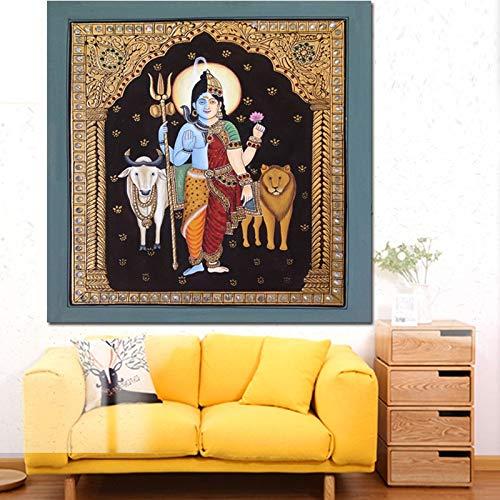 ganlanshu Rahmenloses Gemälde Abstraktes Porträt Ölgemälde Indischer Buddha Hindu Gott HD Drucke und Poster Home DecorationCGQ7319 60X60cm