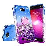 GW Cases for LG X Power 2 Case LG Fiesta,LG K10 Power,LG X Charge,LG Fiesta 2 Case Liquid Glitter Cute Phone Case Kickstand Bling Ring Stand Clear Girls Women Compatible for LG Fiesta 2 (Purple)