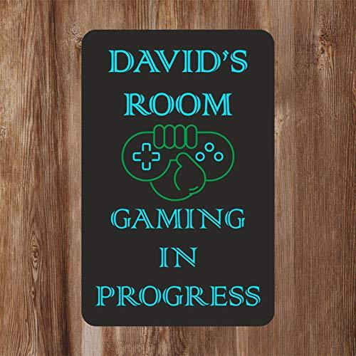 Gaming in Progress Kids Bedroom Door Sign Personalised for You - Any Name! Door Plaque,Girls/Boys,Decor,Kids Room,Games