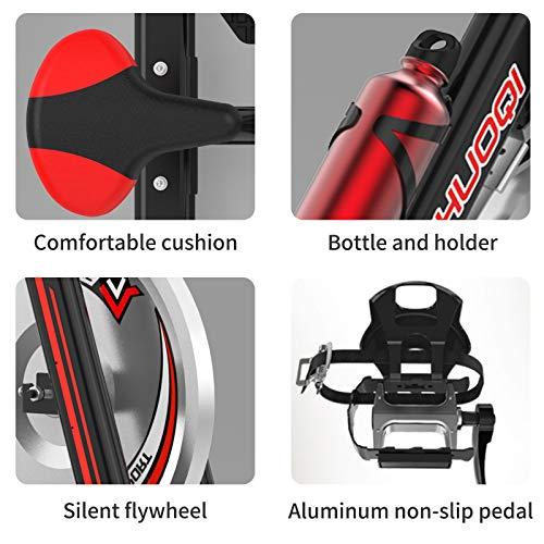 51 K1O3X4OL - SHUOQI Bicicleta estáticas para Fitness, Bici de Spinning, Calidad Profesional, Rueda de inercia bidireccional,Transmisión por Cadena Fija,Asiento Ajustable, Pantalla LCD