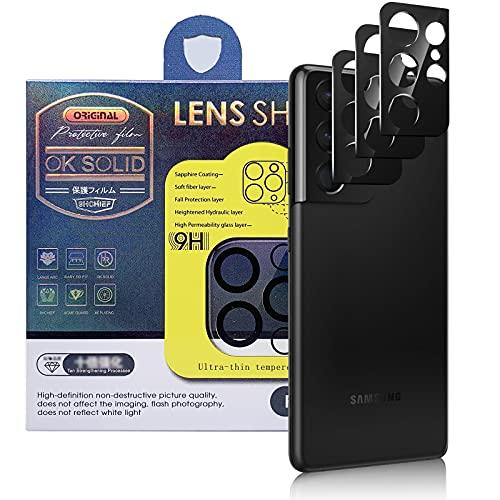 Qoosea [3 Piezas Protector de Lente de Cámara Compatible con Samsung Galaxy S21 Ultra 5G, HD Vidrio Templado Película de Cámara Trasera Lente Pantalla Resistente a Rayones
