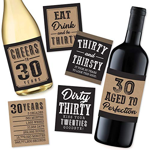 6 30th Birthday Wine or Beer Bottle Labels Stickers Present, 1991 Dirty Thirsty Thirty Bday Gifts For Him Men, Cheers to 30 Years, Funny Unique Party Decorations and Novelty Supplies For Man Husband