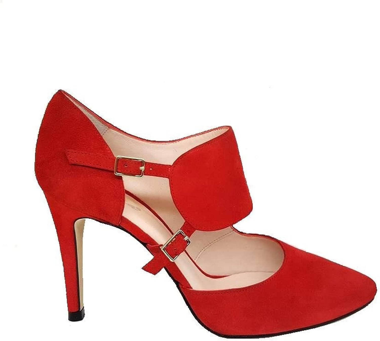GENNIA RESPIRO. - Women Closed Toe Leather Pumps with Stiletto Heel 9 cm + Buckle Clossure Type