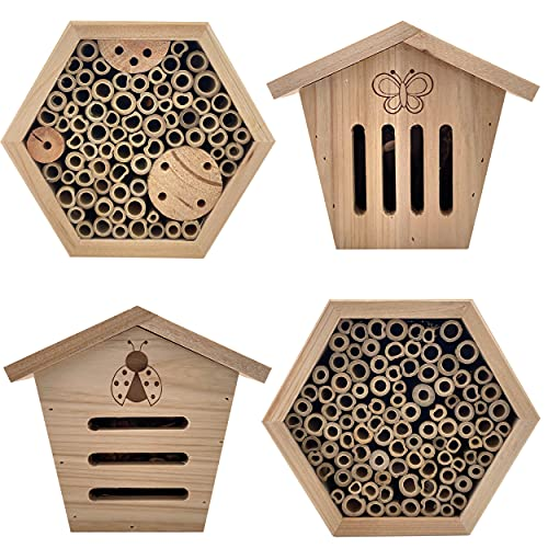 kamelshopping 4er Set Insektenhotel aus Naturholz gefertigt (Set aus Bienenhotels, Schmetterlingshotel, Marienkäferhotel), inkl. Aufhängevorrichtung an...