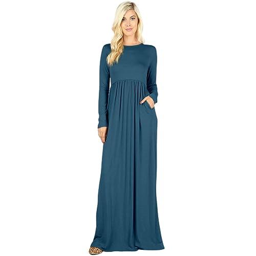 5cdcee10288 Sportoli Maxi Dresses for Women Solid Lightweight Long Casual Long Sleeve W  Pocket