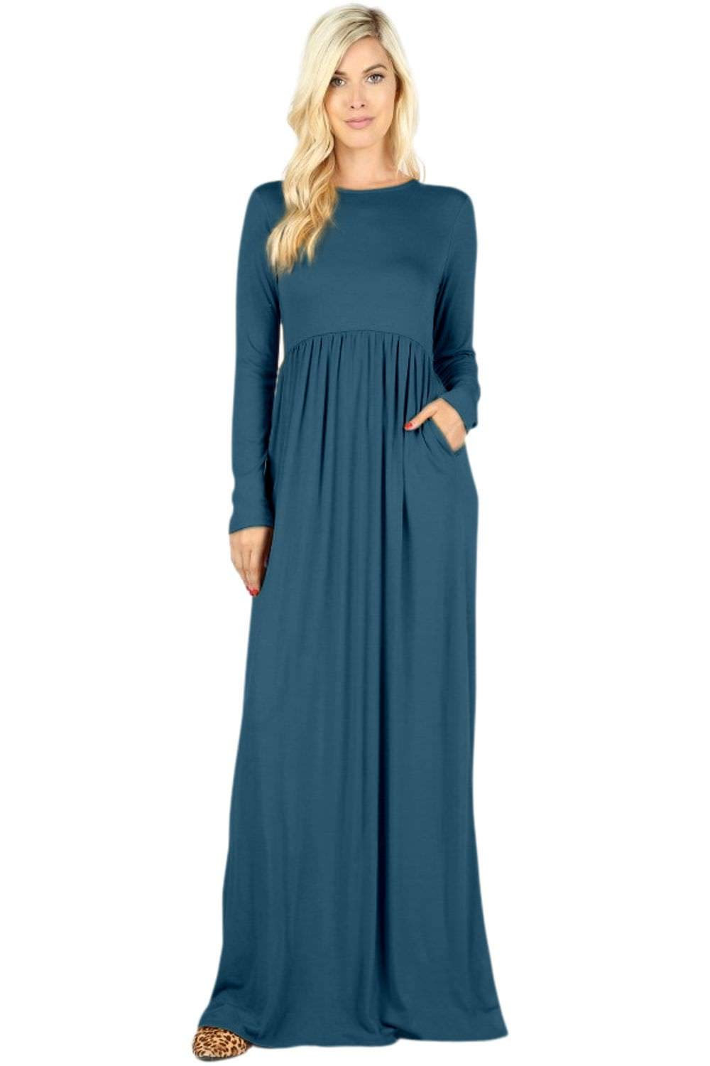 Available at Amazon: Sportoli Maxi Dresses for Women Solid Lightweight Long Casual Long Sleeve W/Pocket