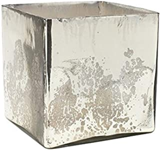 """Serene Spaces Living Silver Mercury Glass Cube Vase – Handmade Vintage Inspired Vase with Antique Feel in 7"""" Cube Shape"""