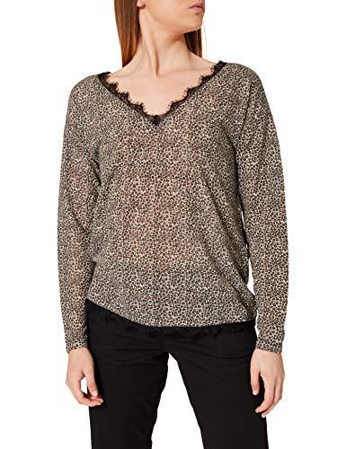 Springfield Camiseta Efecto Lino Cuello Puntilla, Marron Medio, S para Mujer