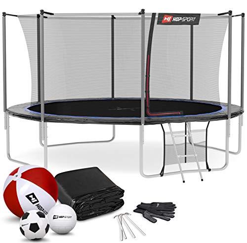 Hop-Sport Outdoor Trampolin Ø 244 cm – Gartentrampolin Komplettset mit stabilen U-Beinen, innenliegendem Netz, Sprungtuch und Leiter sowie Extra-Zubehör, schwarz/blau