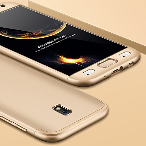 TiHen Funda para Samsung Galaxy J7 Funda 360 Grados Todo Incluido protección + 2 Piezas Cristal Templado, Luxury 3 in 1 PC Hard Skin Carcasa Case Cover para Samsung Galaxy J7(Oro)