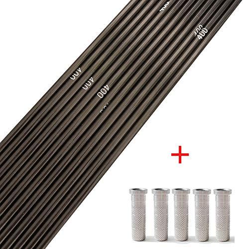 SHARROW Carbonpfeile Schaft Carbon Pfeilschaft 30 Zoll Reiner Kohlenstoff Pfeilschäfte Spine 400 mit Aluminium Pfeile Insert für DIY Compoundbogen Recurve Bogen Pfeile (12)