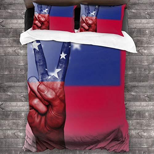 VVSADEB Samoa-Flagge Bettwäsche-Set, 3-teilig, 100 prozent gewaschene Mikrofaser, leicht, 3-teiliges Bettwäsche-Set, Bettbezug-Set mit Reißverschluss (1 Bettbezug + 2 Kissenbezüge)