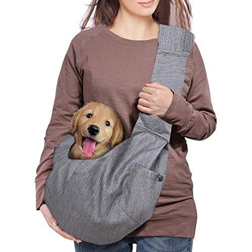 Transportín con cabestrillo para perros y gatos,bolso de mano para mascotas,bolso de hombro,correa hombro acolchada ajustable con bolsillo frontal,transporte para perros para Tote Metro Outdoor (gray)
