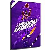 Ghychk Basketball Art Collection Decor Poster LeBron-James LA-Lakers 3D Modern Home Wall Decor para decoración de pared, decoración del hogar estirada y enmarcada de 24 x 86 pulgadas